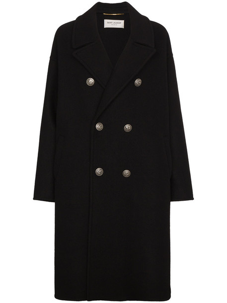 Saint Laurent coat wool coat double breasted women cotton black silk wool