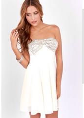 dress,white,silver,bow