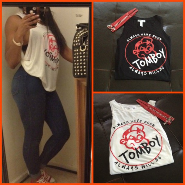 tank top, red, black, white, quote on it, tank top, t,shirt
