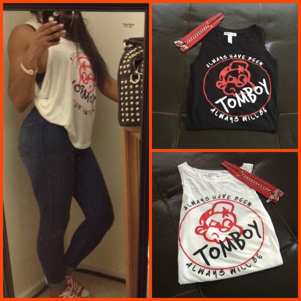Tank top red black white quote on it tank top t-shirt top shirt streetwear style cute ...
