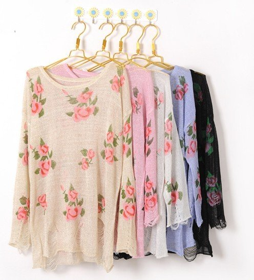 East Knitting Free Shipping AS 068 Women flower Floral Hole knitting garment sweater tops destroyed brand kintwear-inPullovers from Apparel & Accessories on Aliexpress.com