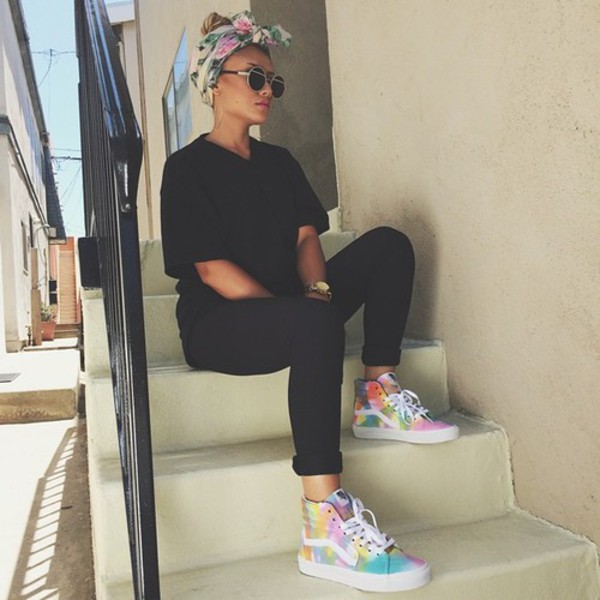 shoes rainbow fluo vans tie dye sk8-hi sunglasses hair accessory printed vans sneakers black high waisted pants black t-shirt high top sneakers headband high top sneakers van sk8 vans style tie dye hi-top vans