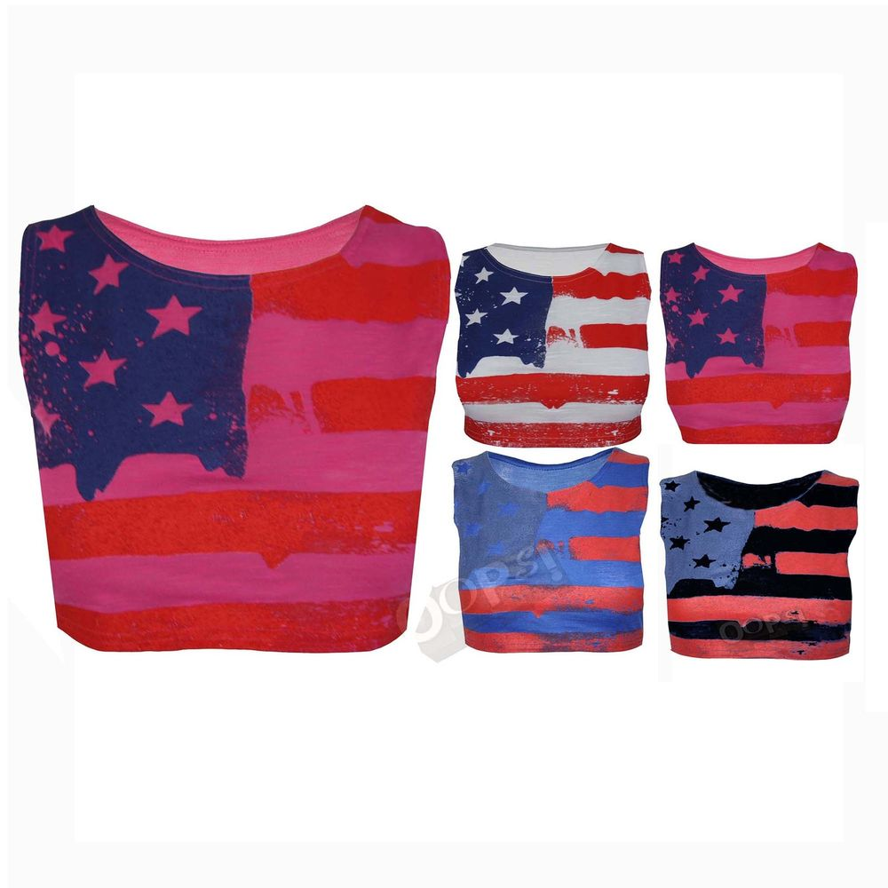 Ladies USA American Flag Womens Stars Stripes Tshirt Sleeveless Vest Cropped Top | eBay