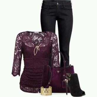 shirt lace shirt maroon/burgundy longsleeve