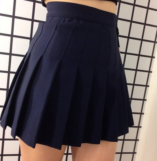 Skirt: grunge, black skirt, tennis skirt, navy, navy blue skirt ...