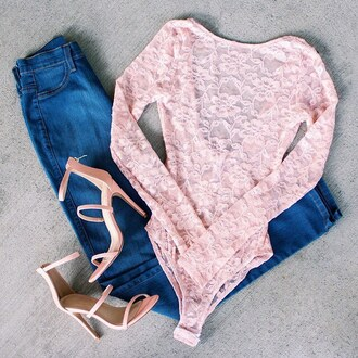 top bodysuit lace bodysuit lace blush pink denim ootn casual sexy sexy shoes romper gojane