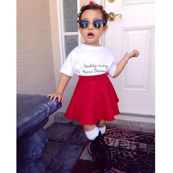scarf cute sunglasses skirt knee high socks combat boots t-shirt skater skirt dress fashion adorable kids fashion roses hair accessory child divas girls printed top flowers flower crown red skater skirt diva sunglasses divas scarf red