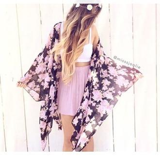 cardigan floral kimono chiffon black and pink long kimono