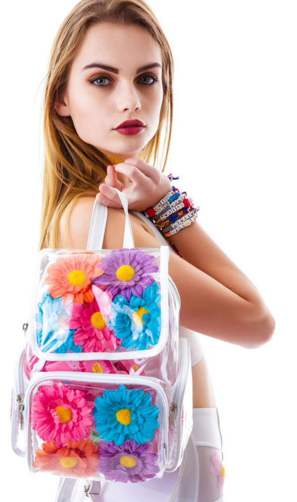 bag daisy see through colorful backpack
