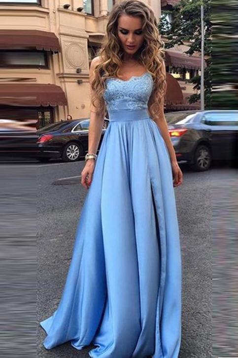 STRAPLESS LIGHT BLUE LACE EMPIRE WAIST LONG FASHION EVENING PROM DRESSES · lightdress