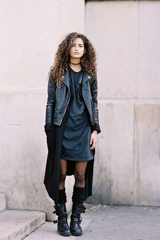 shoes black combat boots outfit leather jacket long cardigan leg warmers casual dress