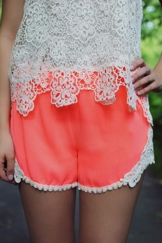 shorts orange lace