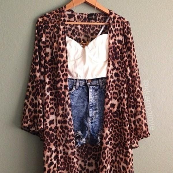 coat leopard print kimono leopard print