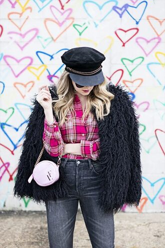 a lacey perspective - a fashion blog based in our nation's capital. blogger top jacket jeans shoes bag sunglasses fuzzy coat fluffy fuzzy jacket round bag