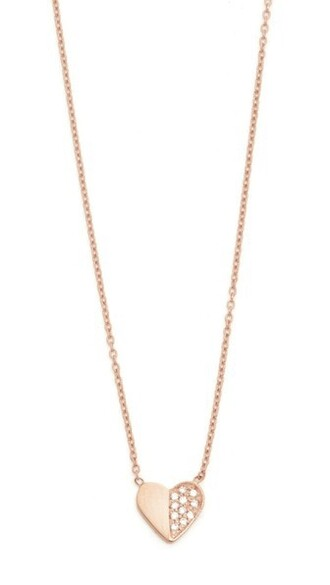 heart rose gold rose clear necklace gold jewels