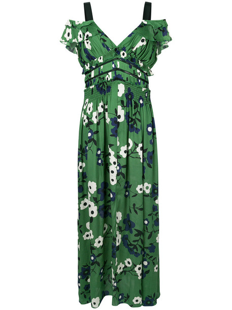 self-portrait dress maxi dress floral maxi dress maxi women cold floral green