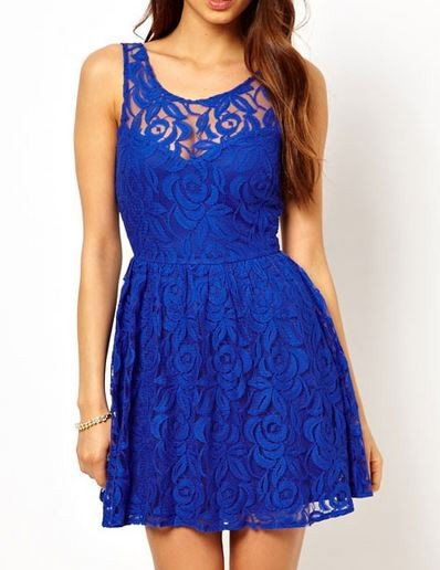 2b53465b34d9 Sexy Skater Dress Blue Lace Mini Formal Cocktail Evening Rock ...