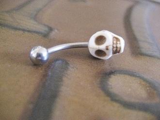 jewels earrings skull skullface white