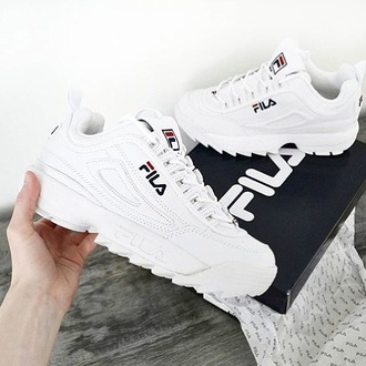 shoes white shoes fila sneakers