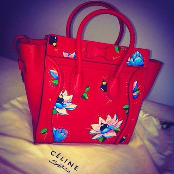 celine bag floral red purses handbags fashion