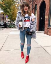 jacket,tumblr,grey jacket,fur jacket,faux fur jacket,t-shirt,logo tee,denim,jeans,blue jeans,ripped jeans,skinny jeans,boots,red boots,ankle boots,crossbody bag,shoes