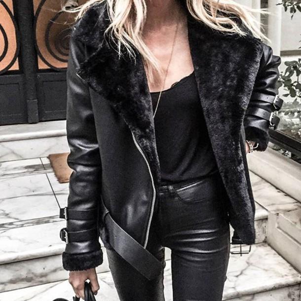 Jacket: maniere de voir, shearling, biker, faux, black ...