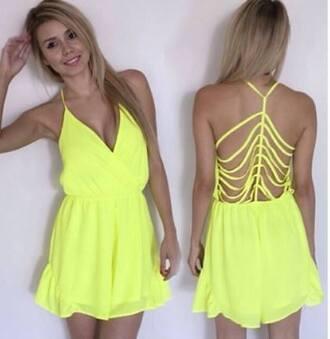 jumpsuit romper yellow dress