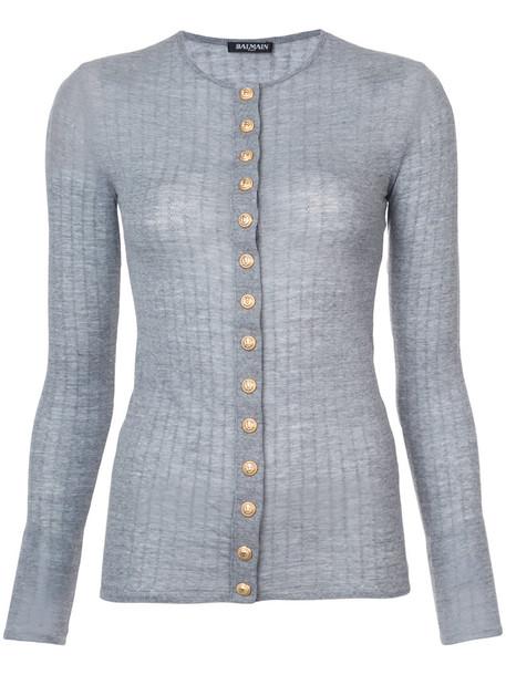Balmain cardigan cardigan women embellished wool grey sweater