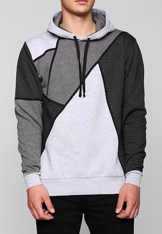 hoodie sweater/sweatshirt grey sweater guys fitting patterened mens sweater geometric