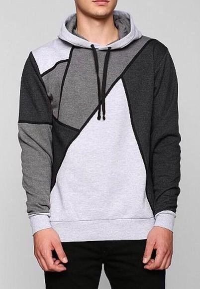 grey sweater hoodie guys fitting sweater/sweatshirt patterened