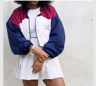 jacket vintage adidas crop tops white blue red black 90s style