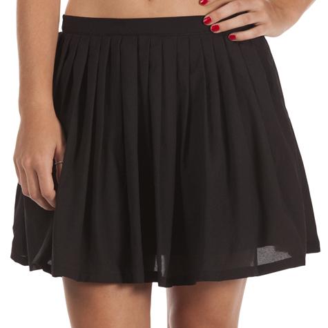 Short Black Pleated Skirt