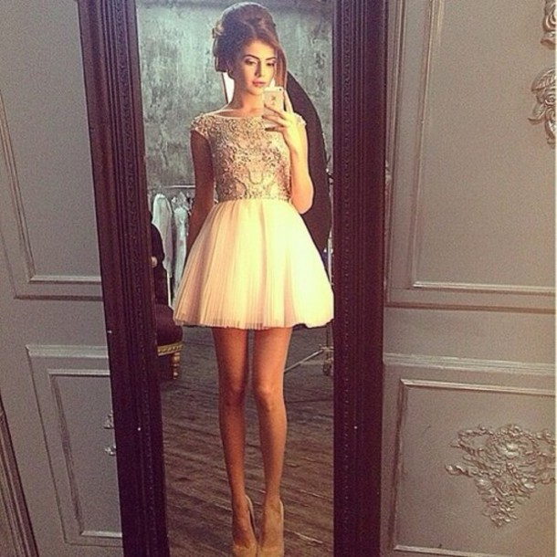 dress short beautiful white white dress cute dress pearl gold creme skater prom dress cocktail dress prom short prom dress princes