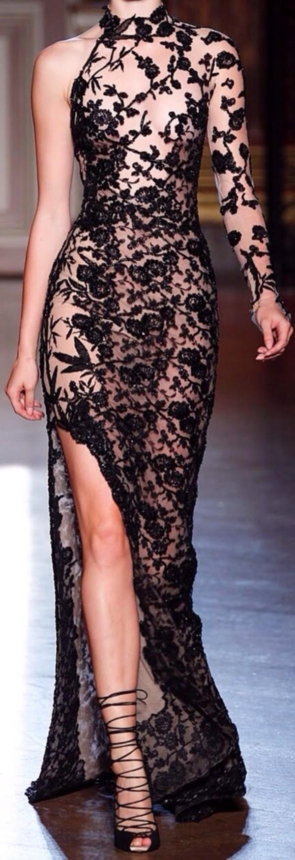 dress black lace dress long sleeve