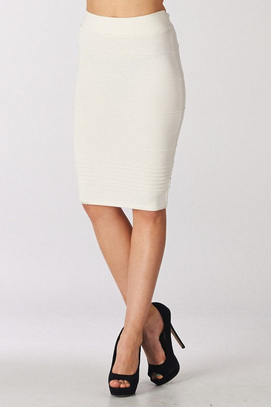 New Ivory Knee Length MIDI Pencil Bandage Skirt Size S | eBay
