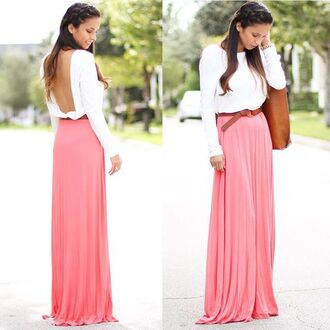 dress coral peach pink light pink maxi maxi dress long dress long sleeves long sleeve dress open back plunging back two tone white white dress backless