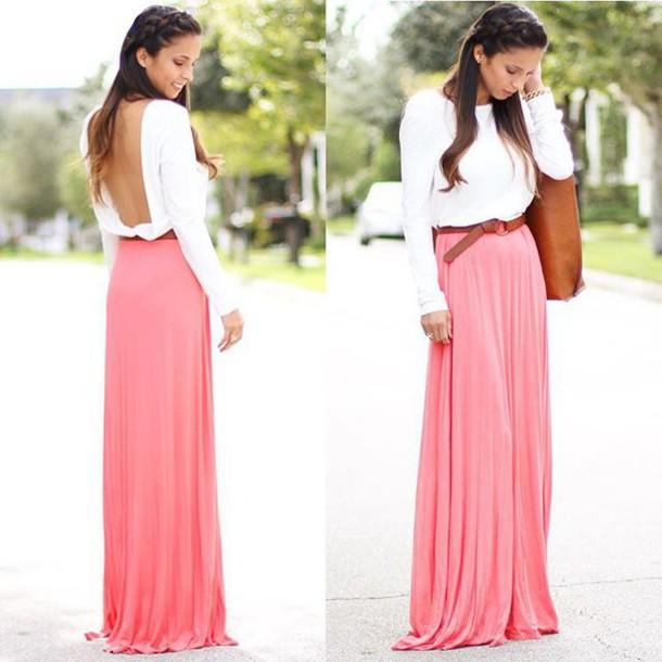 Light pink long maxi dress