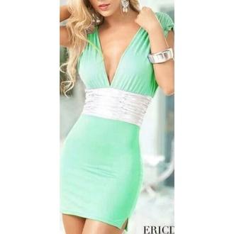 short dress v neck green silver green dress short tight tight dress v neck dress
