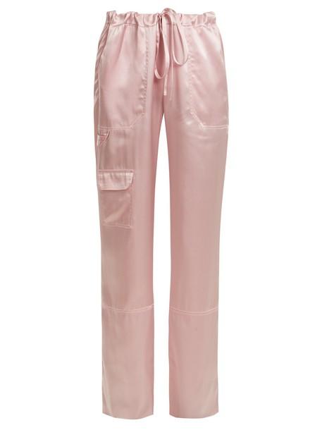 silk satin light pink light pink pants