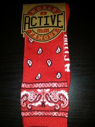 socks bandana print red