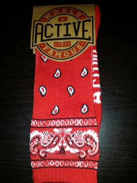 socks bandana print red