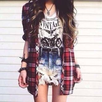 blouse shirt check shorts denim ripped t-shirt motorcycle stacked bracelets necklace belt jacket jewels