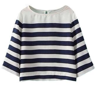 stripes blue and white striped crop tops three-quarter sleeves www.ustrendy.com