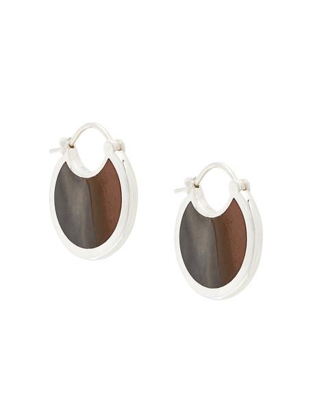 Pamela Love women earrings silver grey metallic jewels