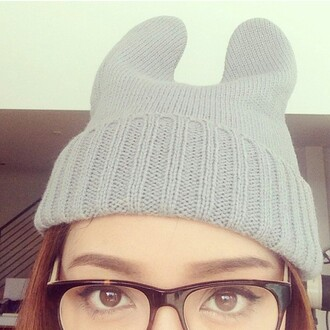 hat grey gray gray beanie grey beanie beanie ear beanie ear hat