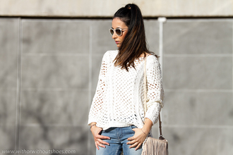 with or without shoes blogger shoes sweater sunglasses jeans bag jewels
