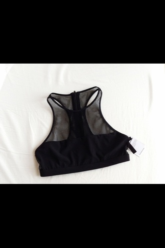 tank top mesh black crop top high neck back zipper