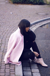 mode junkie,sweater,jeans,coat,shoes,jewels,susanna boots,pink boots,ankle boots,buckle boots,black jeans,ripped jeans,pink coat,black sweater
