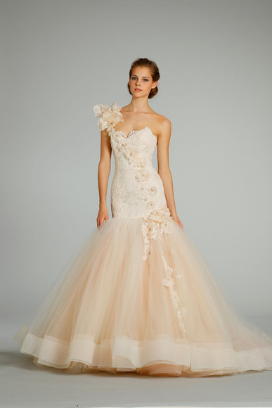 dress tulle flowers mermaid dress peach color one shoulder
