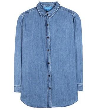 shirt denim shirt loose denim blue top